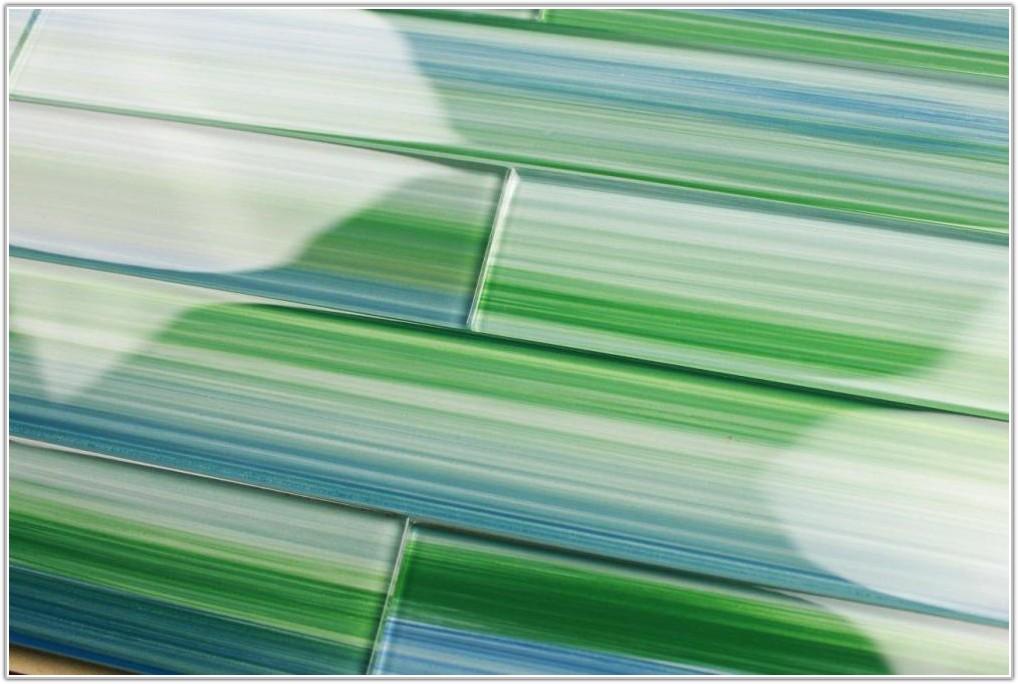 Blue Green Glass Tiles Backsplash