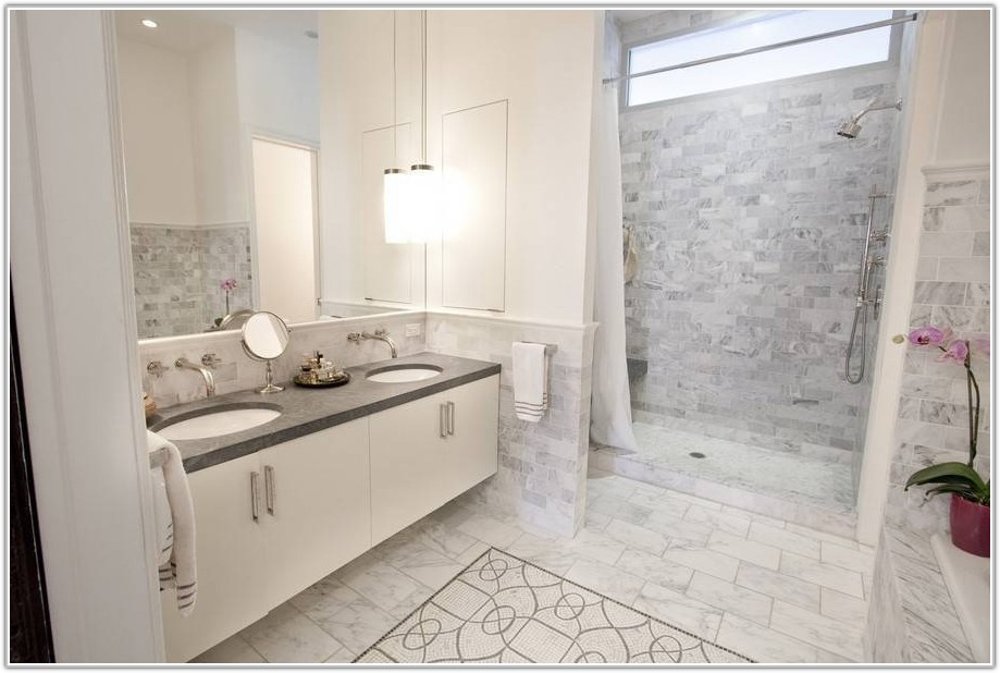 Carrara Marble Subway Tile Bathroom