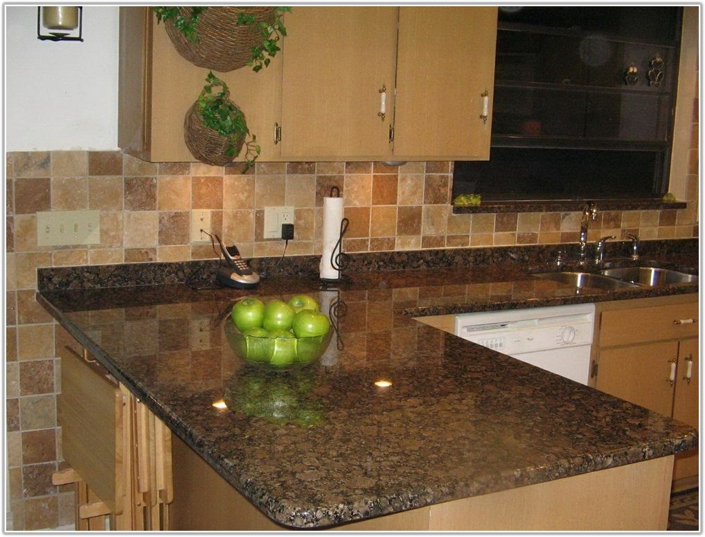Dark Brown Subway Tile Backsplash