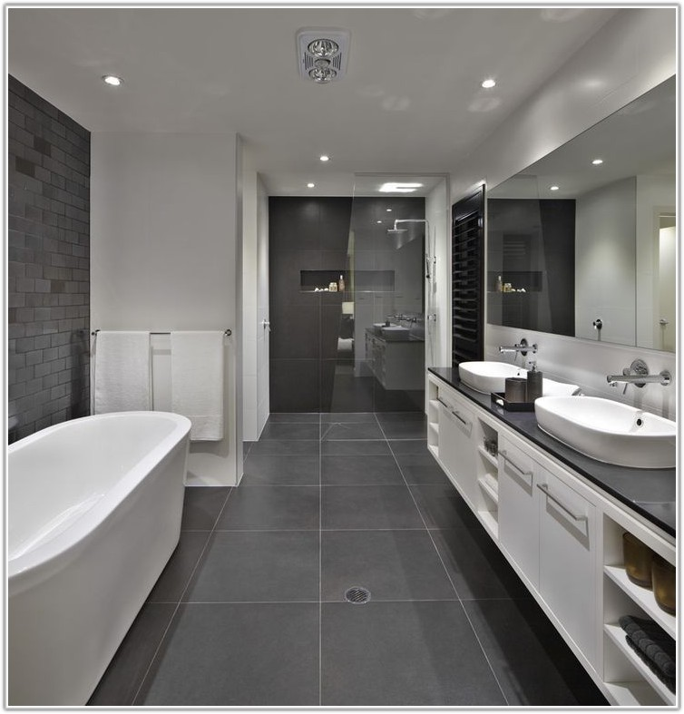 Dark Grey Floor Tiles Bathroom