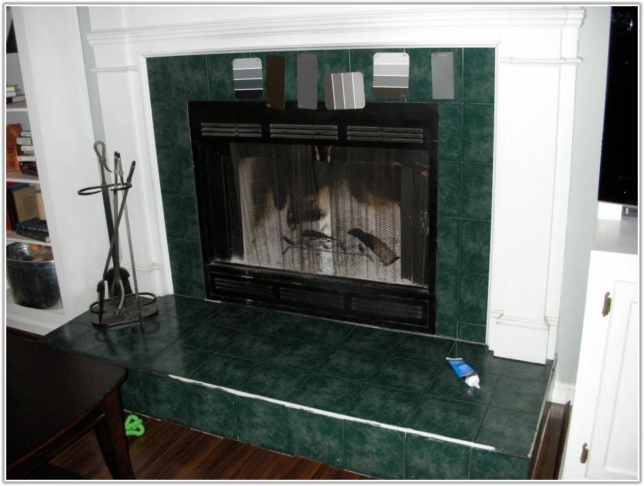 Glass Mosaic Tiles Around Fireplace