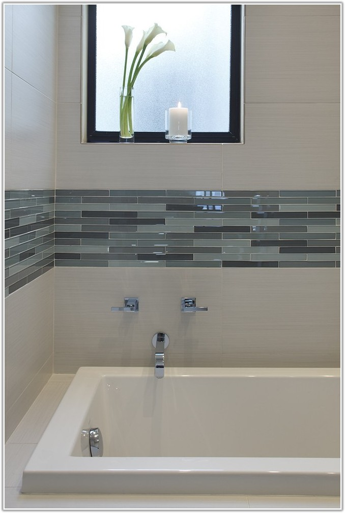 Glass Tile Accent In Bathroom