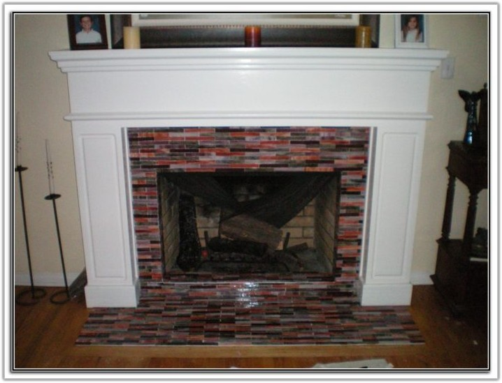 Glass Tile Fireplace Surround Design