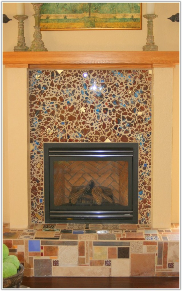 Glass Tile For Fireplace Surround