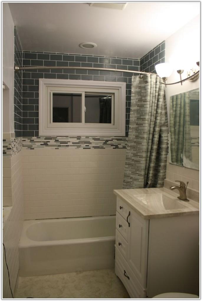 Glass Tile Wall In Bathroom