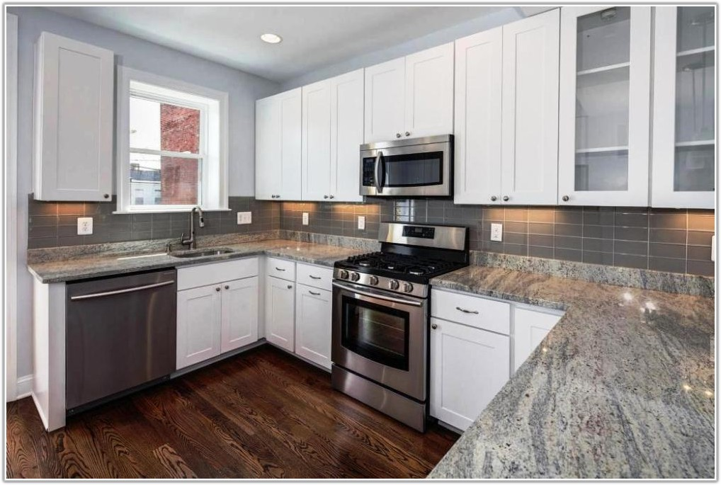 Gray Glass Subway Tile Kitchen