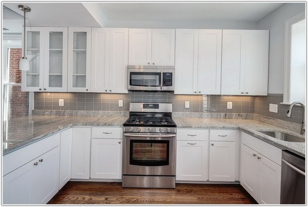 Gray Glass Tile Kitchen Backsplash