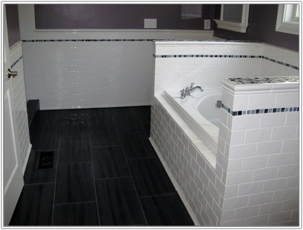 Gray Subway Tile Bathroom Floor