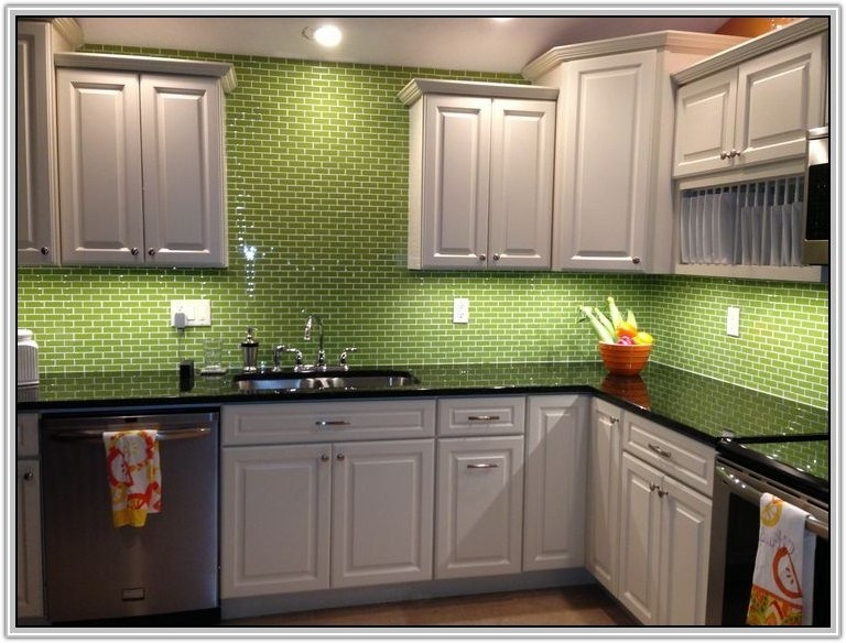 Green Ceramic Subway Tile Backsplash