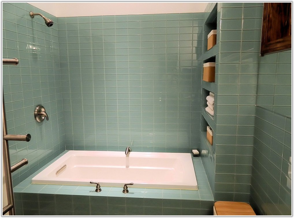 Green Glass Subway Tile Bathroom