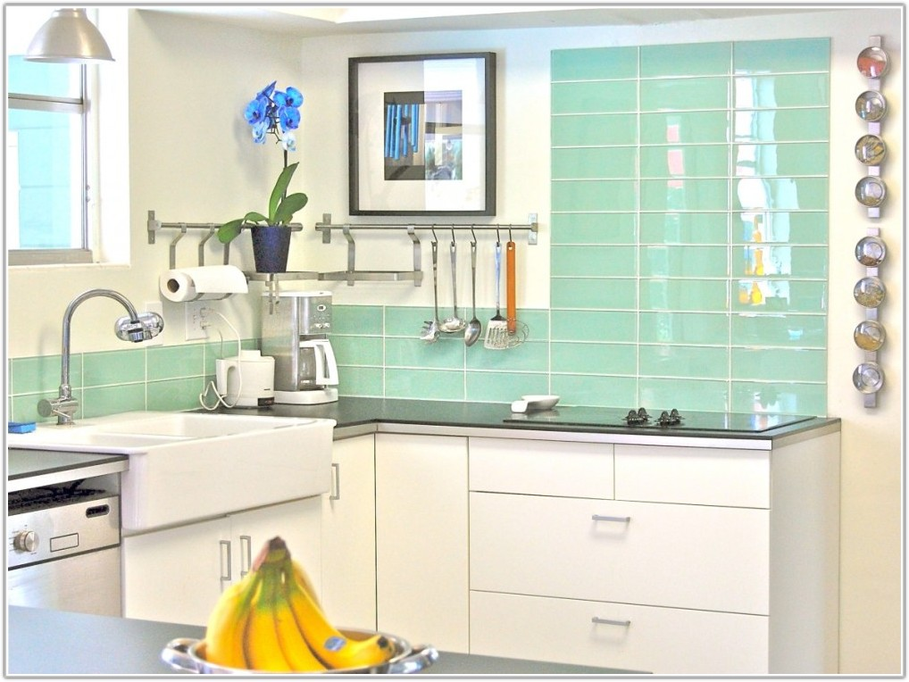 Green Glass Subway Tile Kitchen