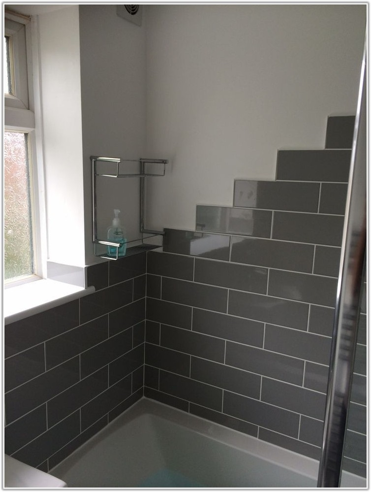 Grey Brick Style Bathroom Tiles