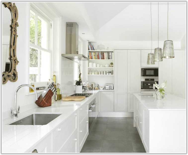 Grey Floor Tiles White Kitchen