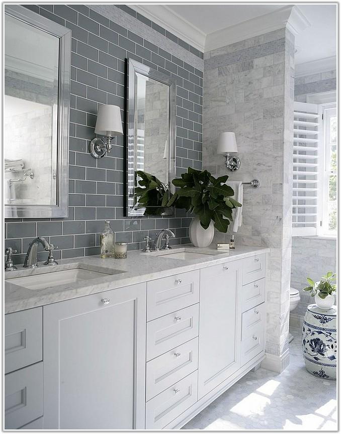 Grey Glass Subway Tile Bathroom