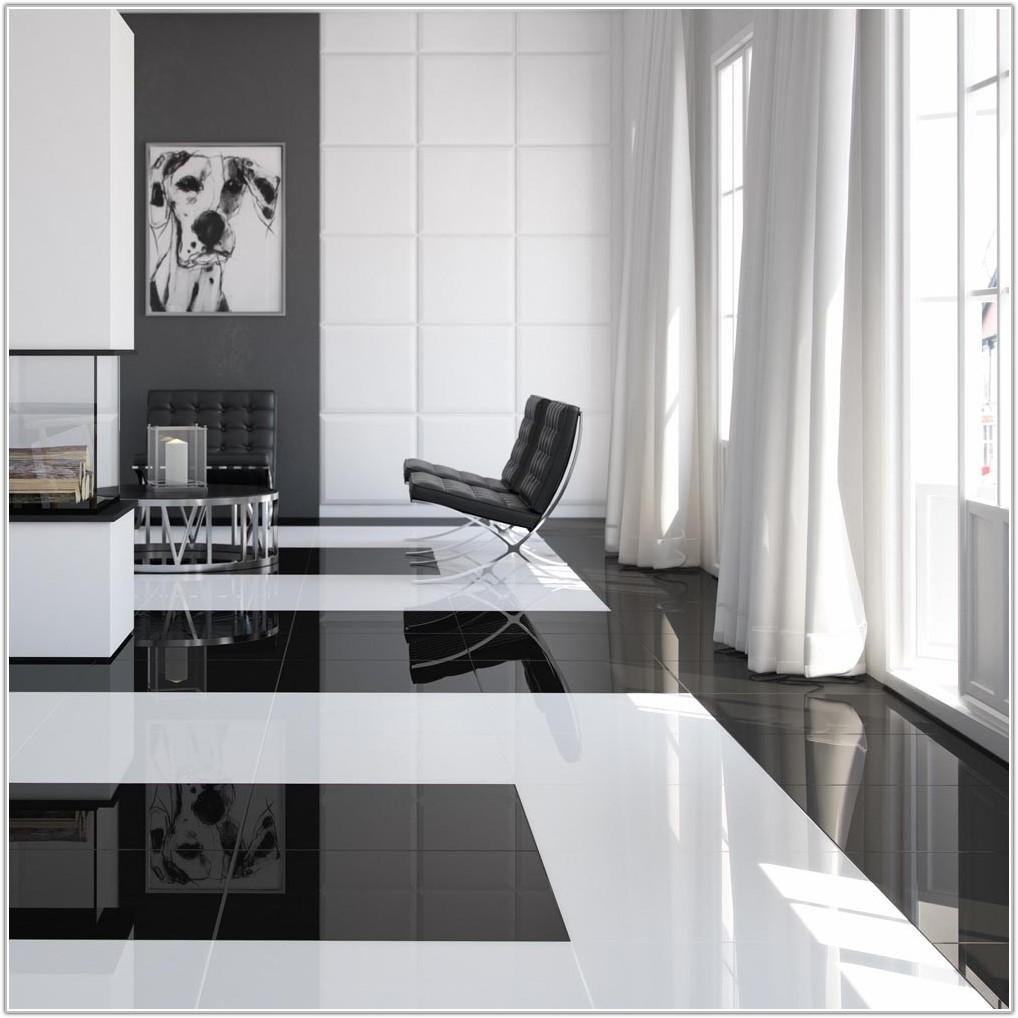 High Gloss Floor Tiles Black