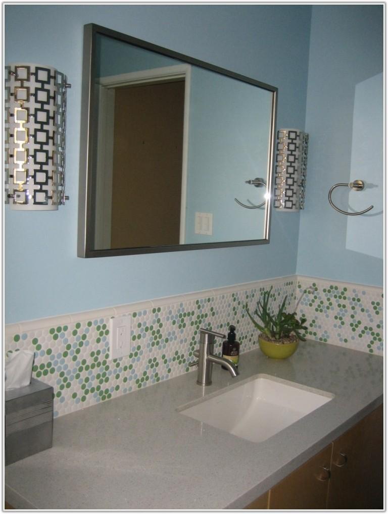 Install Glass Mosaic Tile Backsplash Bathroom