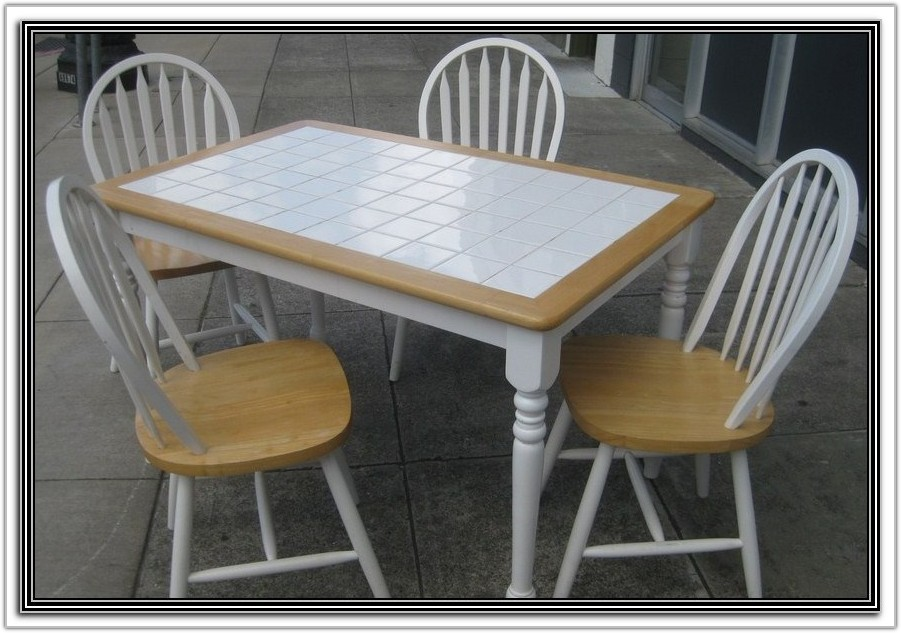 Kitchen Table With White Tile Top