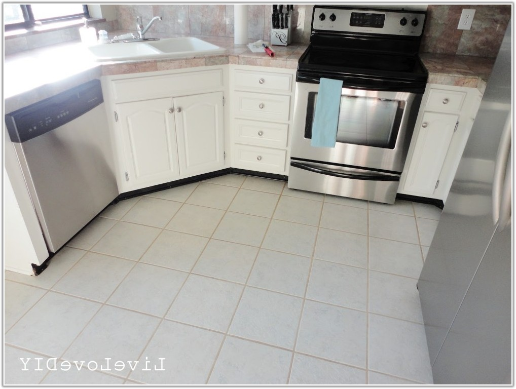 Large White Floor Tiles Kitchen