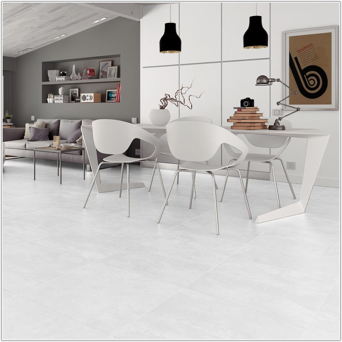 Large White Porcelain Floor Tiles