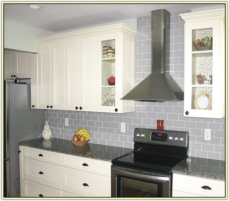 Light Gray Subway Tile Backsplash