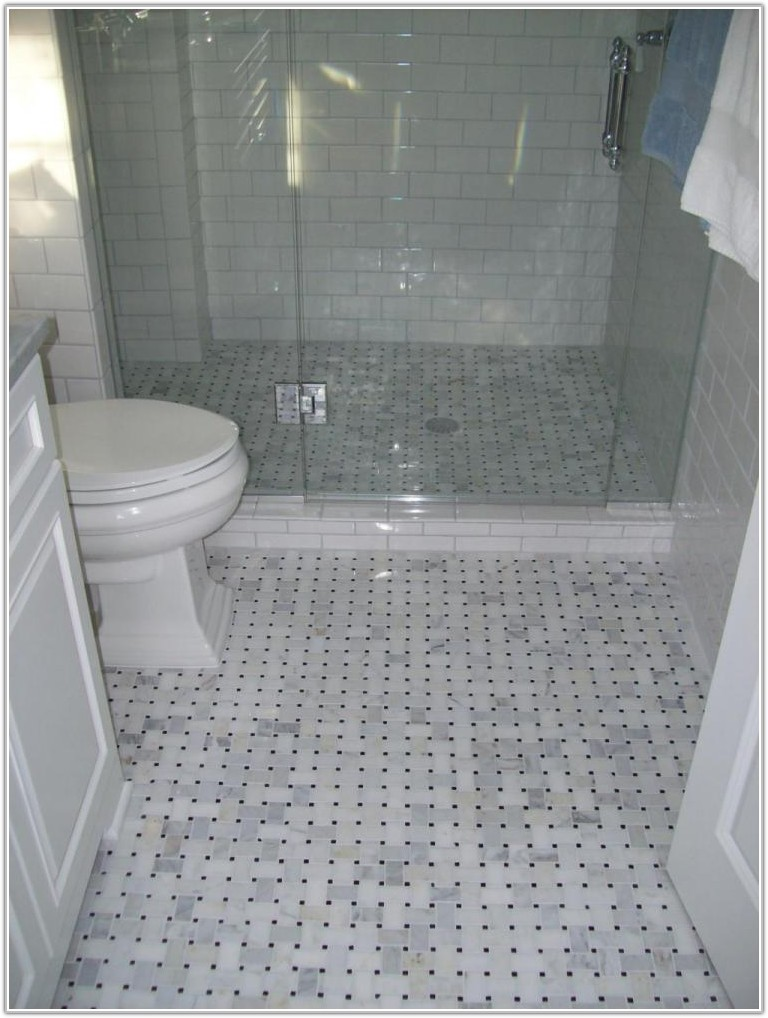 Marble And Glass Tile Bathroom