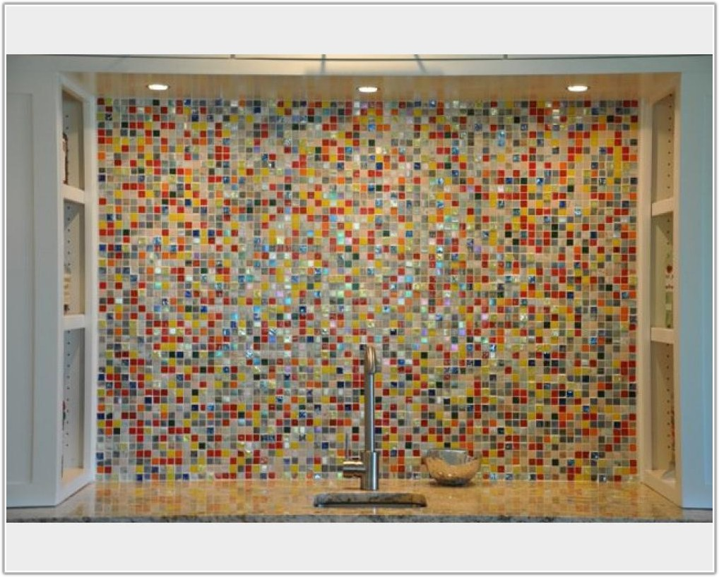 Multi Color Glass Tile Backsplash