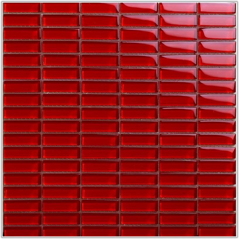 Red Mosaic Glass Tile Backsplash