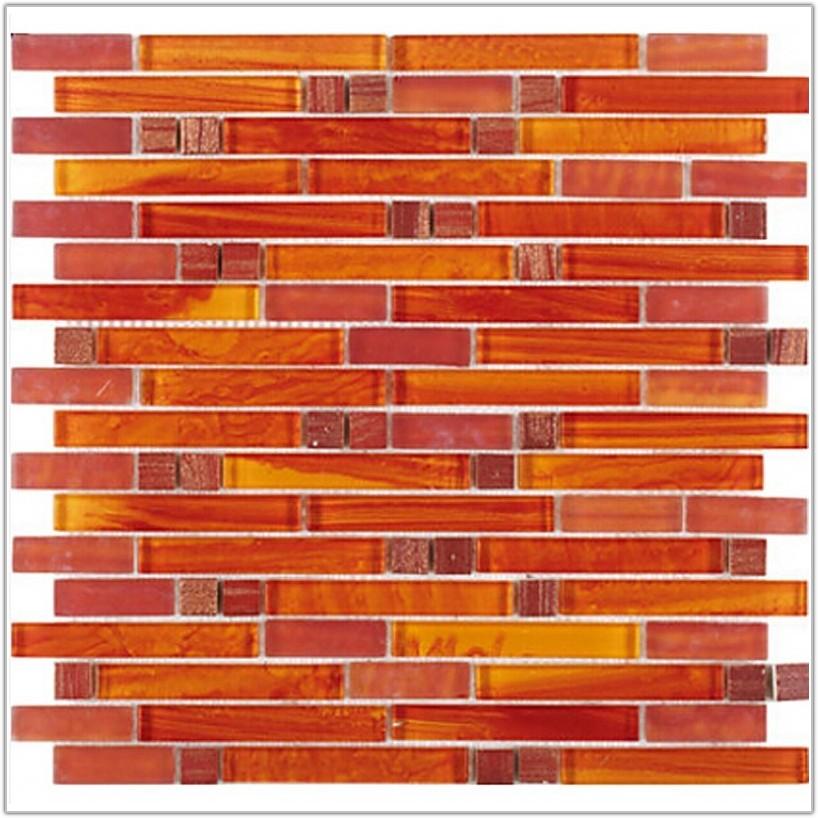 Red Orange Glass Mosaic Tile