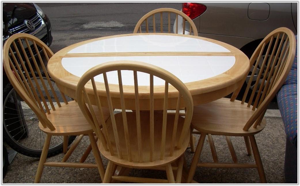 Round White Tile Top Kitchen Table