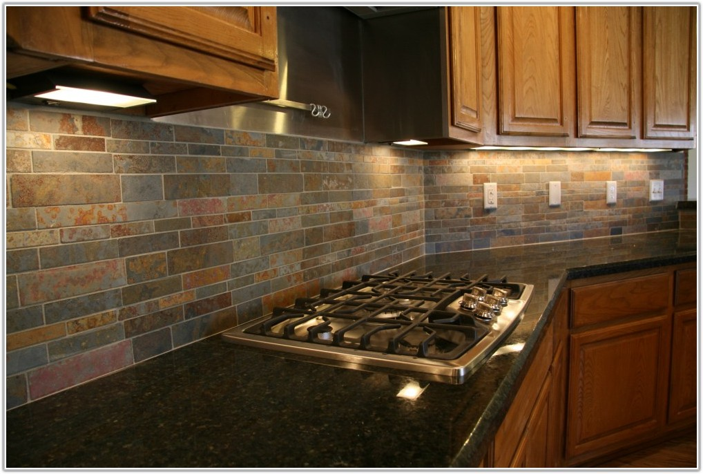 Stone Mosaic Tile Kitchen Backsplash Multicolor Slate