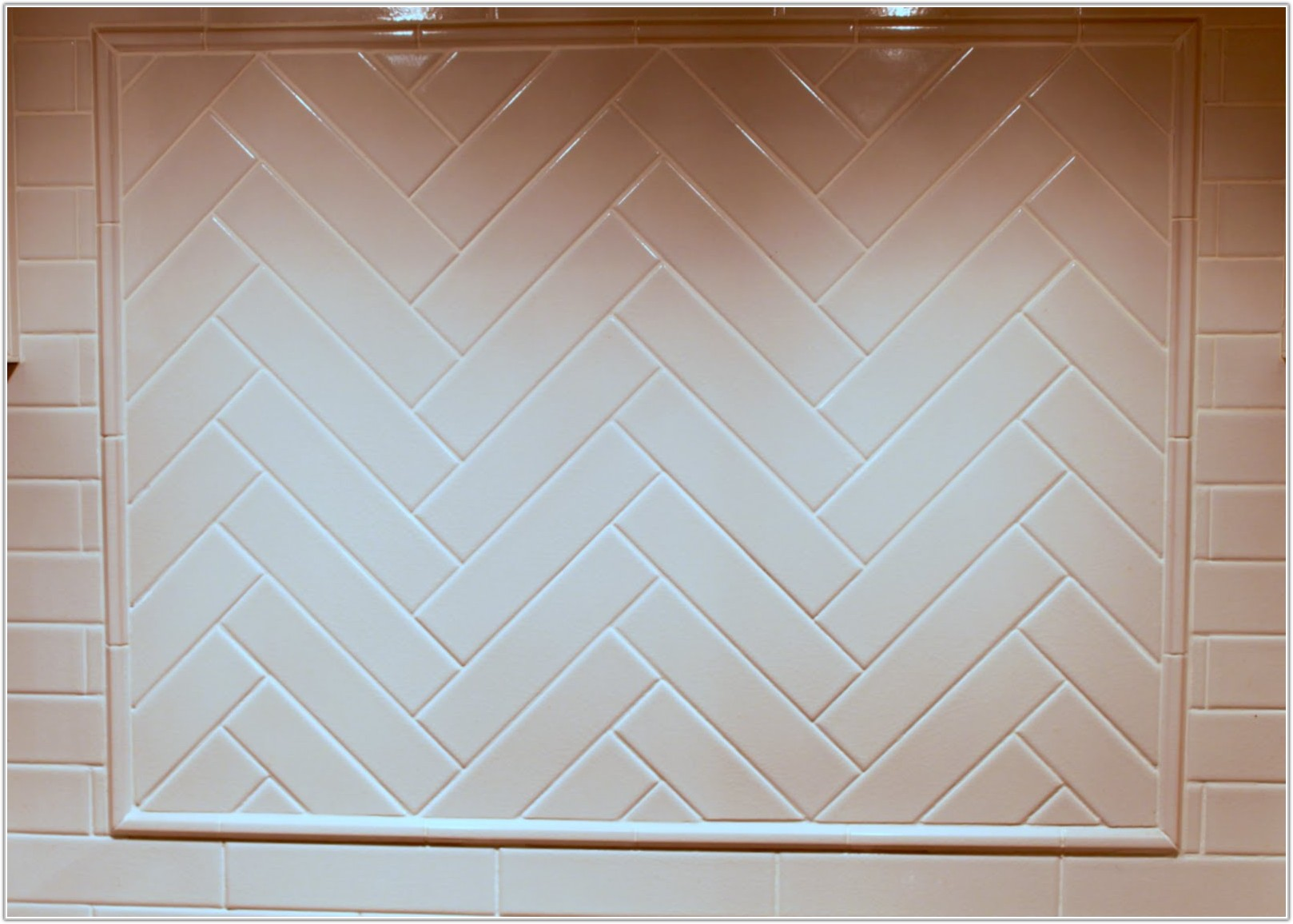 Subway Tile In Herringbone Pattern