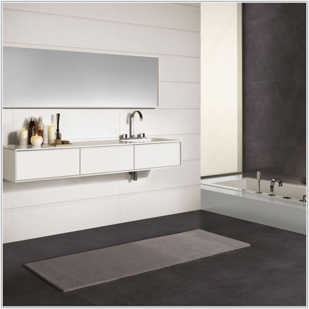 White Bathroom Wall And Floor Tiles