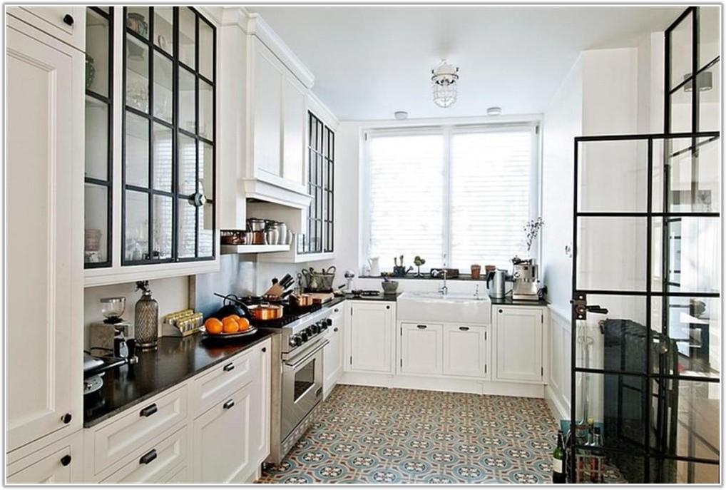 White Cabinets Tile Floor Kitchen