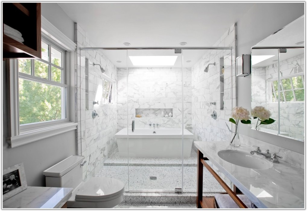 White Carrara Marble Tiles Bathroom