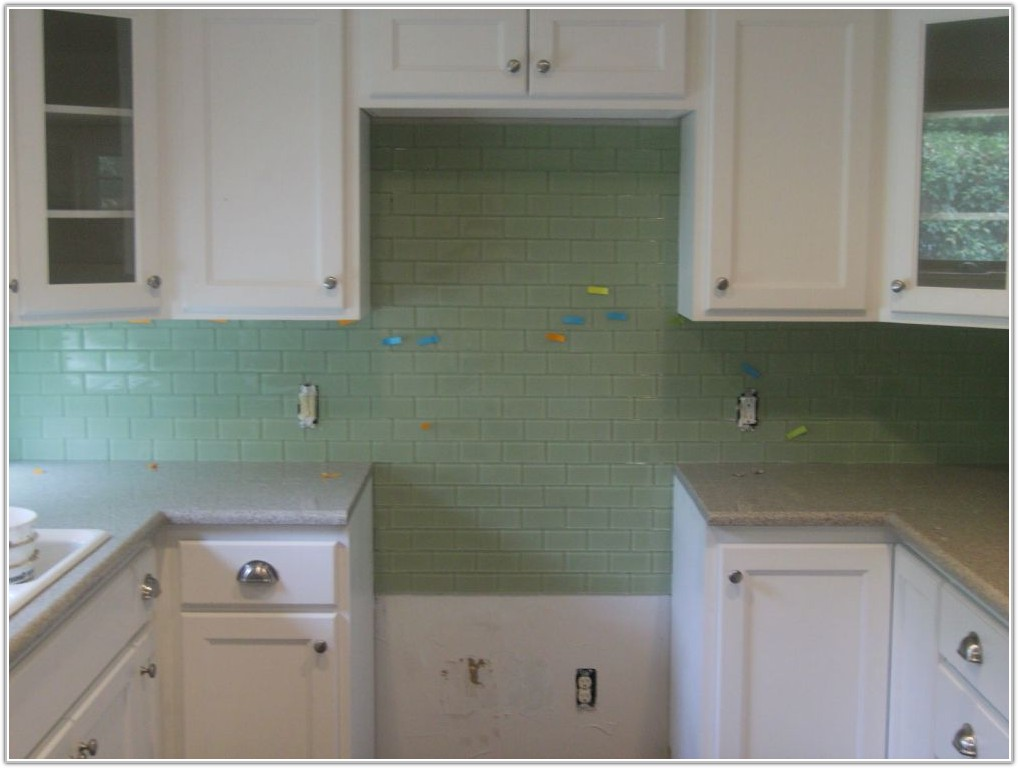 White Glossy Subway Tile Backsplash