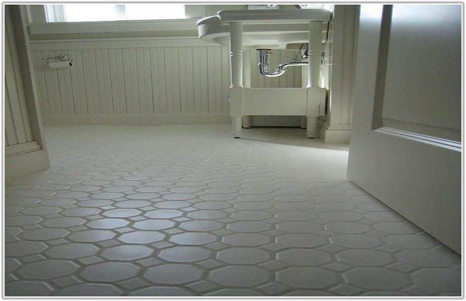 White Hexagon Floor Tile Bathroom