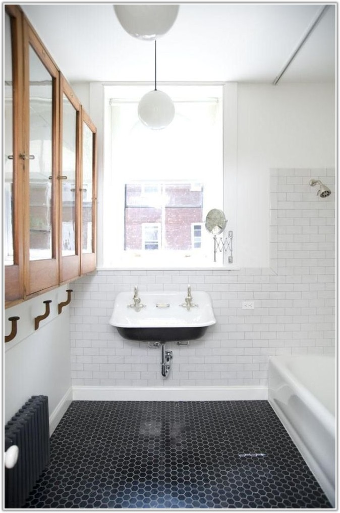 White Hexagon Floor Tile With Black Grout