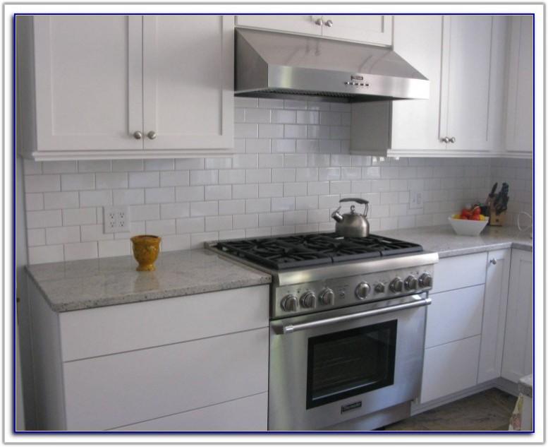 White Subway Tile Backsplash With Grey Grout