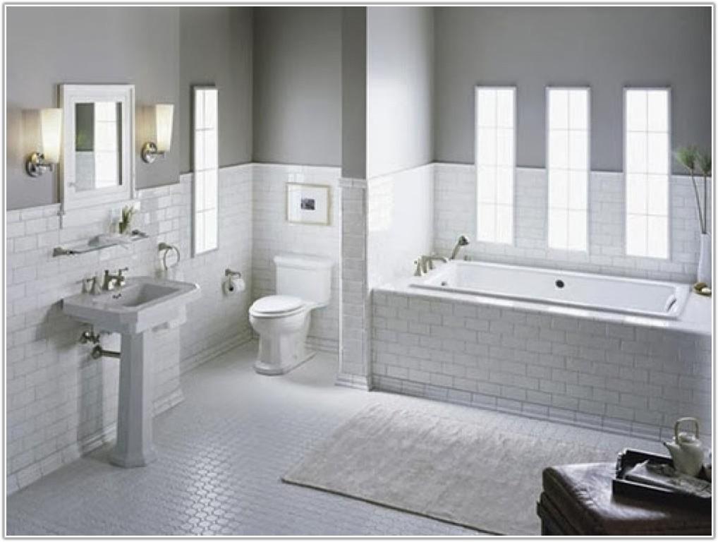 White Subway Tile In Bathroom