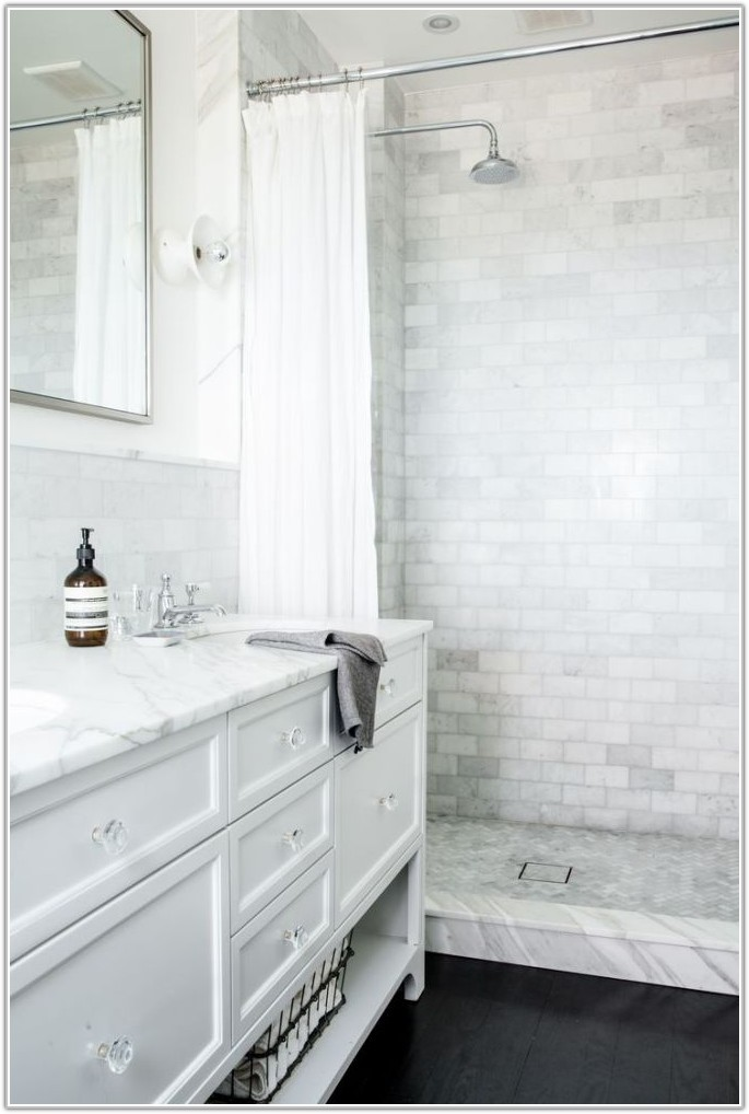 White Subway Tile Small Bathroom