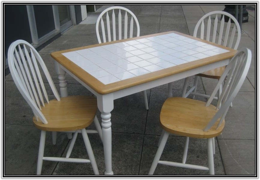 White Tile Top Kitchen Table