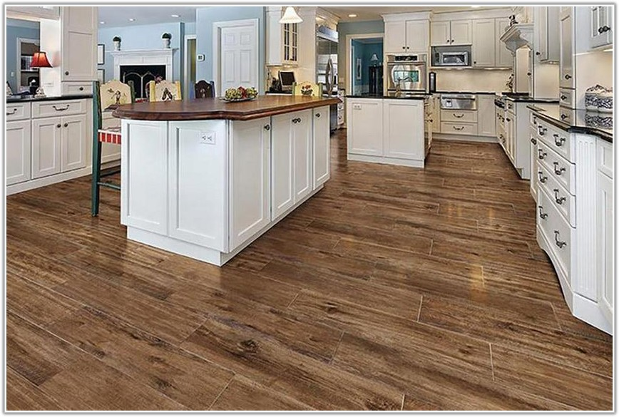 Wood Look Tile Flooring Kitchen