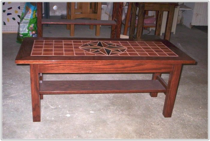 Wood Table With Tile Top