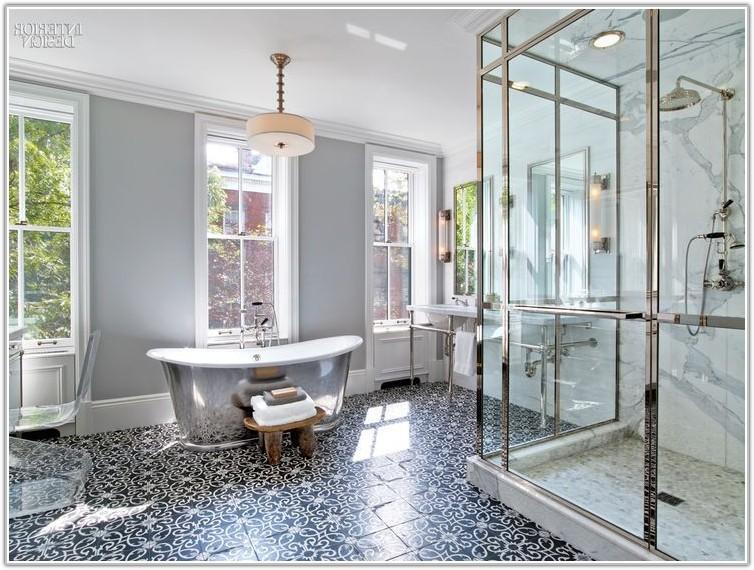 Mosaic Bathroom Floor Tile Black White
