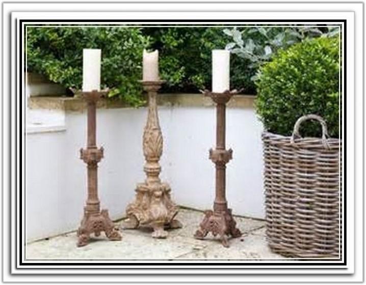 Wooden Floor Standing Candle Holders