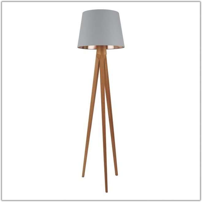 Wooden Tripod Floor Lamp With Grey Shade