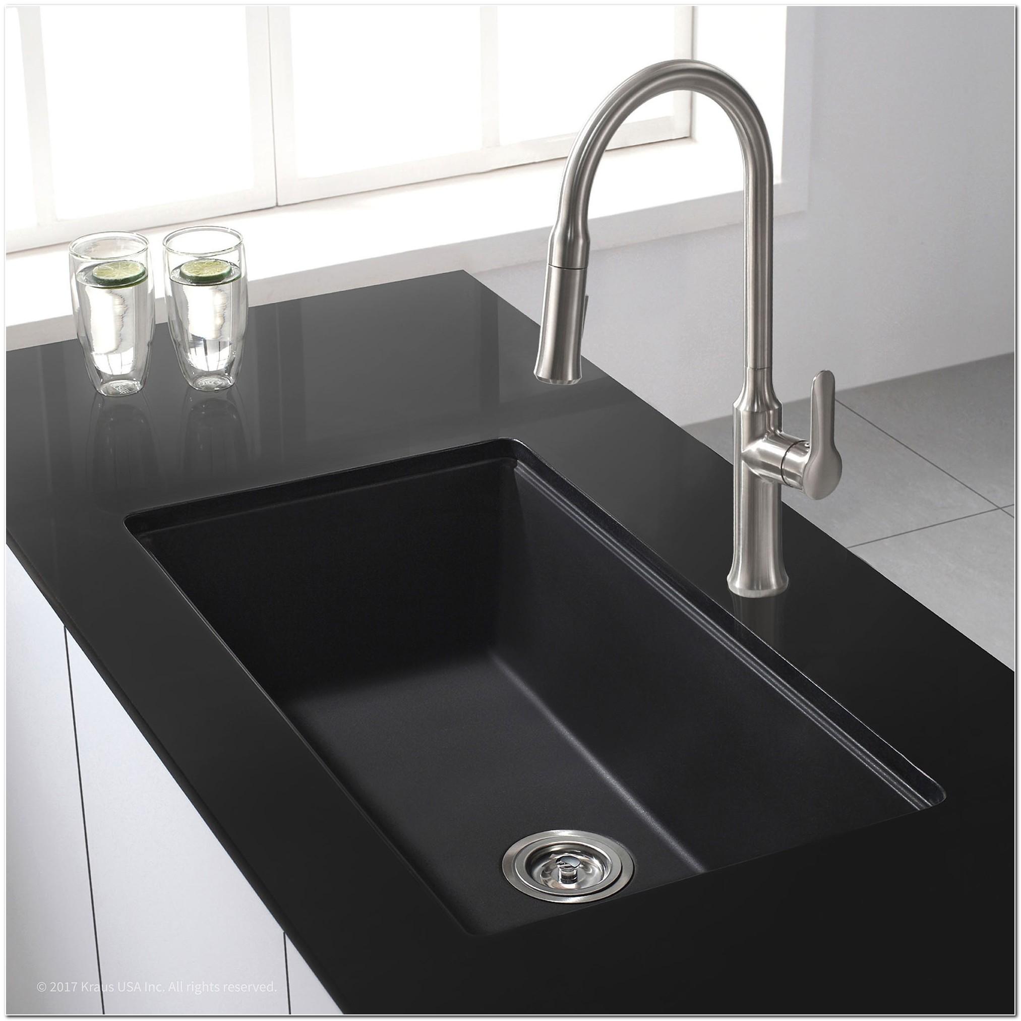 Black Granite Undermount Bathroom Sink