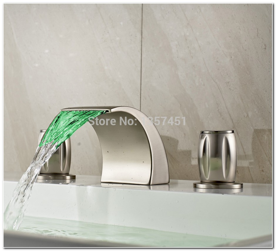 Brushed Nickel Led Waterfall Faucet