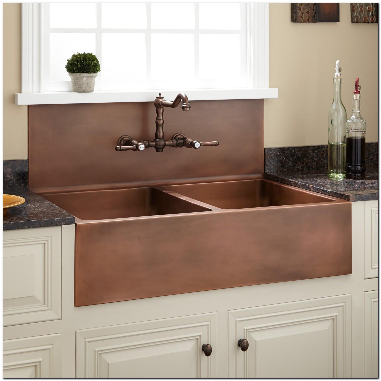 Copper Farmhouse Sink With Backsplash