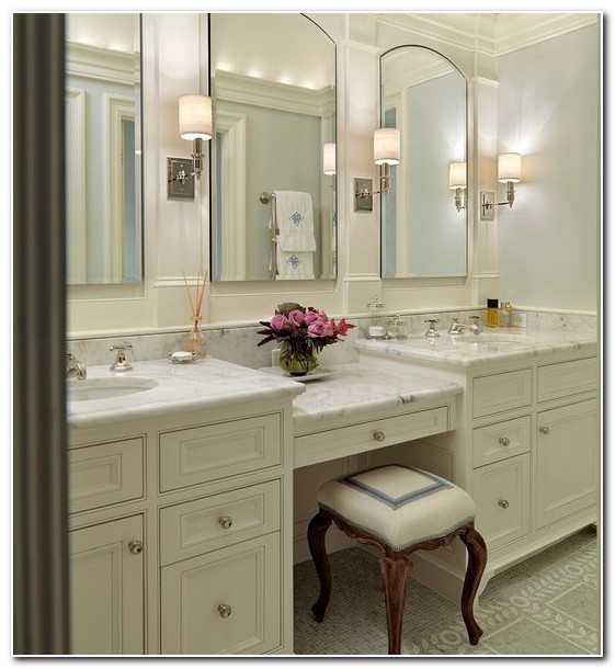 Double Sink Vanity With Makeup Table